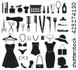 Beauty and Fashion icons collection for women. - stock vector