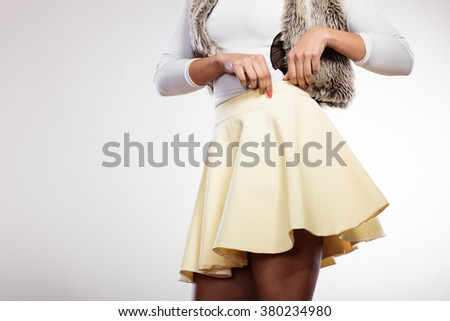 Beauty and fashion of female. Part body of mixed race african caucasian woman posing in stylish fashionable clothes. - stock photo