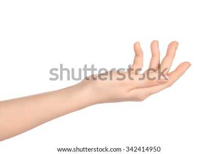 Beauty and Health theme: beautiful elegant female hand show gesture on an isolated white background in studio