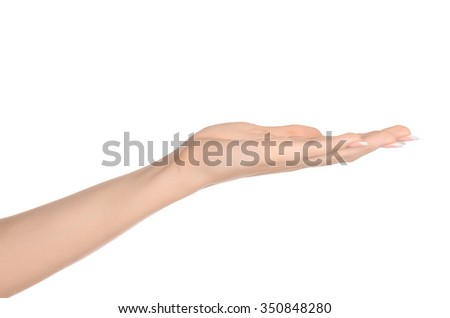 Beauty and Health theme: beautiful elegant female hand show gesture on an isolated white background in studio - stock photo