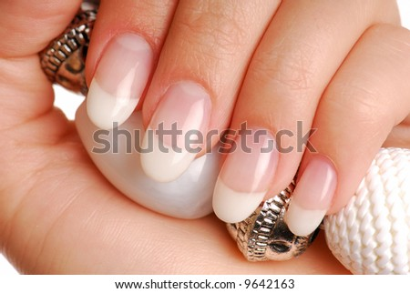 Beauty and luxury female nails. France manicure