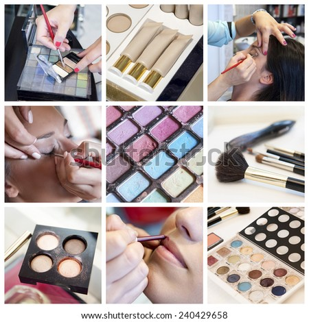 Beauty and makeup collage - stock photo