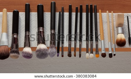Beauty and makeup. Set of wet professional make up brushes after washing is drying - stock photo