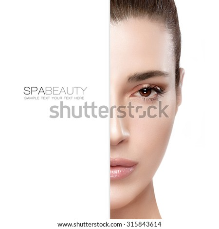 Beauty and skincare concept with a half face portrait of a serene young woman with a flawless smooth complexion, isolated on white with copy space at the left. Template design with sample text - stock photo