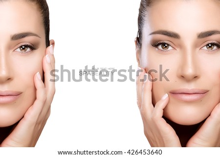 Beauty and skincare concept with two face portraits of a beautiful young woman with a flawless smooth complexion, isolated on white with copy space in the middle and sample text. Template design - stock photo