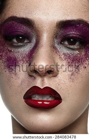 Beauty asian female Model with Tears on her Face