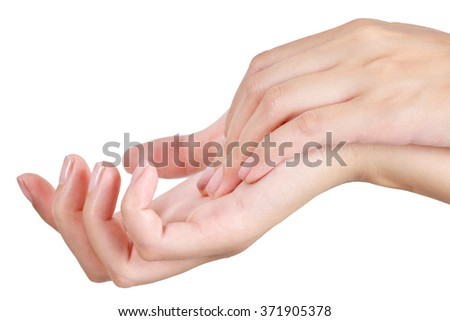 Beauty asian woman hand in relaxing and massage, isolate on a white background.