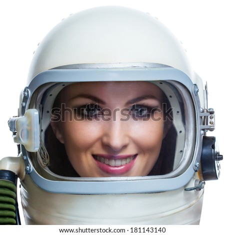 Beauty astronaut isolated on a white background. Space beauty woman concept