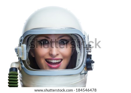 Beauty astronaut isolated on a white background. Space beauty woman concept - stock photo