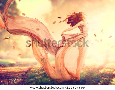 Beauty autumn woman beautiful fantasy girl 222907966 beauty autumn woman beautiful fantasy girl fairy in blowing transparent chiffon dress fall voltagebd Gallery