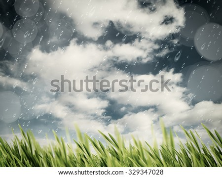 Beauty autumnal rain on the meadow, natural backgrounds - stock photo