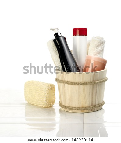 Beauty bath set  with a sponge. - stock photo