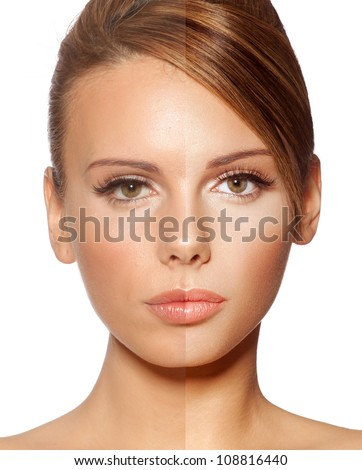 Beauty before and after photo retouch - stock photo