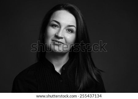 Beauty black and white woman face, portrait of good young girl - stock photo