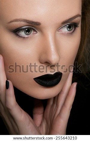 Beauty Black Lip Makeup - stock photo