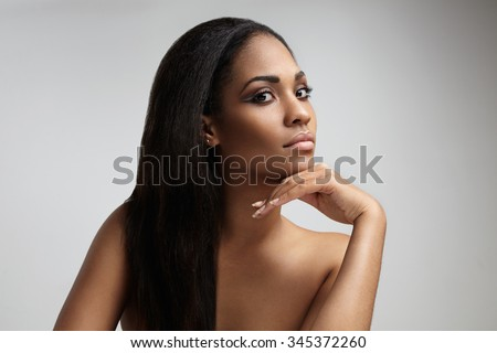 beauty black woman with a long straight hair - stock photo