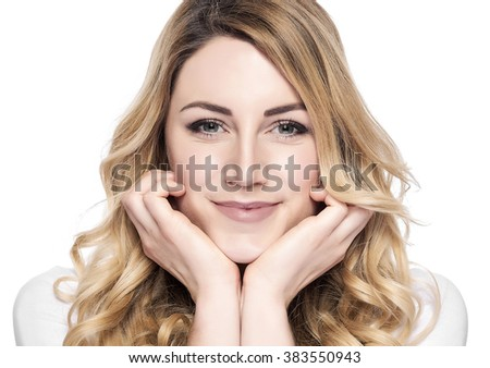 Beauty blonde woman face close up portrait. Isolated on white.
