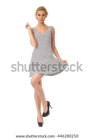 Beauty blonde woman in sexy dress isolated on white background