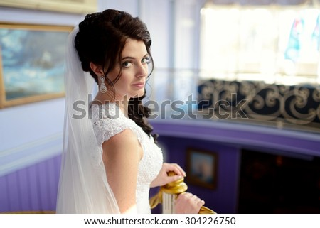 Beauty bride in bridal gown with lace veil on the nature. Beautiful model girl in a white wedding dress. Female portrait in the park. Woman with hairstyle. Cute lady outdoors - stock photo