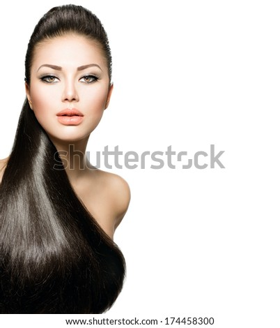 Beauty Brunette Fashion Model Girl with Long Healthy Straight Hair, Ponytail Hairstyle. Hairdo. Isolated on a white background. Beautiful Woman with brown long Healthy smooth hair  - stock photo
