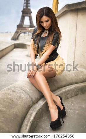 Beauty brunette woman posing. - stock photo
