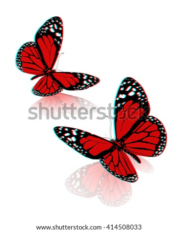 beauty butterflies. 3D illustration. Anaglyph. View with red/cyan glasses to see in 3D.