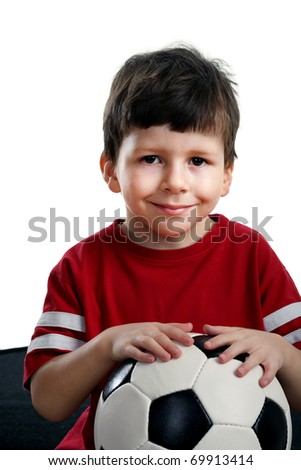Beauty child with soccer ball a over white background - stock photo