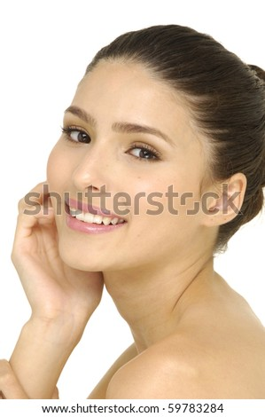 beauty close-up portrait young woman face - stock photo