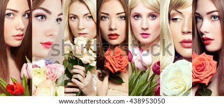 Beauty collage. Faces of women. Beautiful women with flowers. Fashion photo