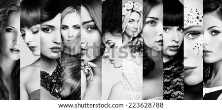 Beauty collage. Faces of women. Fashion photo. Black and white - stock photo
