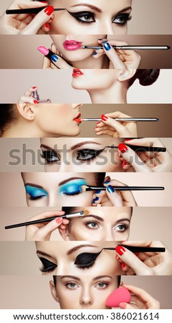 Beauty collage. Faces of women. Fashion photo. Makeup artist applies lipstick and eye shadow. Woman applying perfume - stock photo