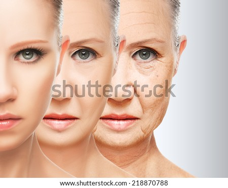 beauty concept skin aging. anti-aging procedures, rejuvenation, lifting, tightening of facial skin, restoration of youthful skin anti-wrinkle - stock photo