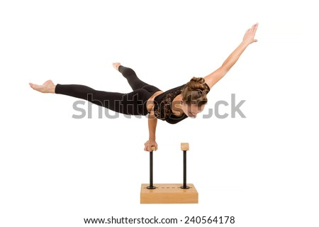 beauty contortionist practicing gymnastic yoga isolated on white background, Young professional gymnast woman - stock photo