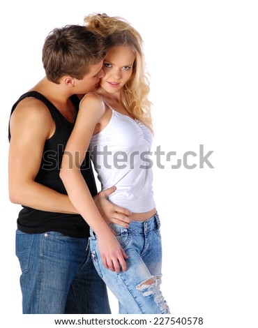 Beauty couple in love - stock photo