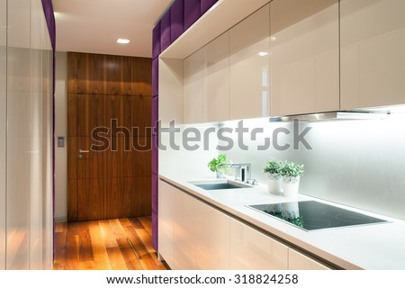 Beauty cozy kitchen in modern detached house - stock photo