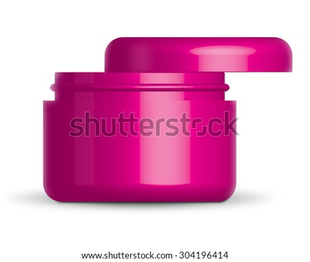 beauty cream container on white background - stock photo