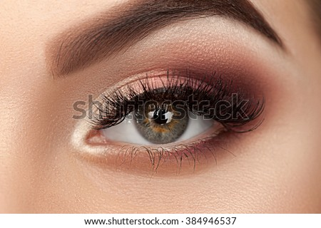 Beauty eye of woman with amazing make-up. Close up photo.