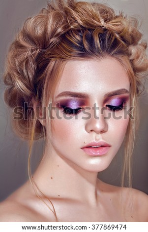 Beauty face makeup. Make up. Eyelashes extensions. Perfect Make-up closeup. Foundation. Cosmetic Eyeshadows, eyebrows. Beauty Girl with Perfect Skin. - stock photo