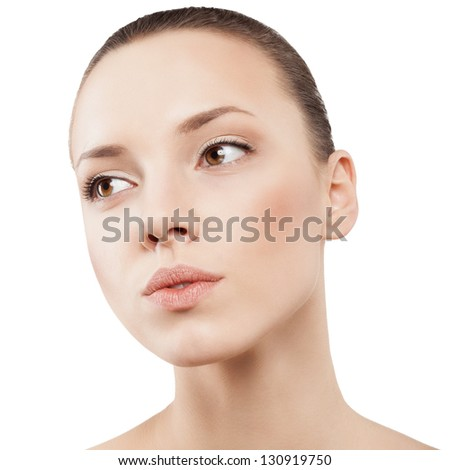 Beauty face of beautiful woman with clean skin - isolated - stock photo
