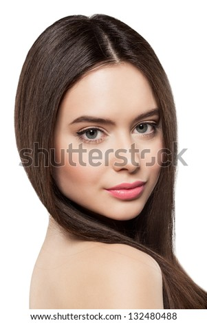 Beauty face of woman with clean fresh skin - stock photo