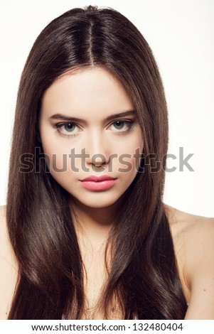 Beauty face of woman with clean skin and long hair - stock photo
