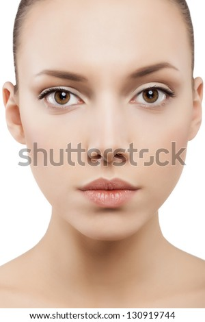 Beauty face of woman with clean skin - isolated - stock photo