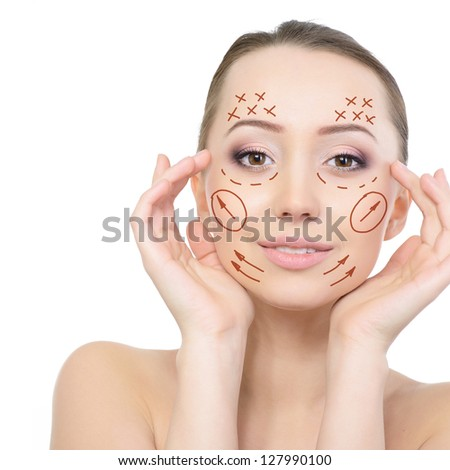 Beauty face of young beautiful woman and face-lift of plastic surgery, over white background - stock photo