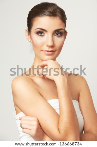 Beauty face of young woman isolated on white background. Female beautiful model. - stock photo