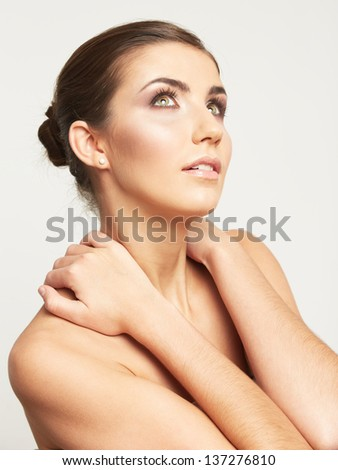Beauty face of young woman isolated on white background. Female beautiful model.