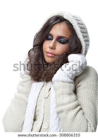 beauty face portrait of attractive young caucasian woman in warm clothing  studio shot isolated on white makeup winter christmas eyes closed - stock photo