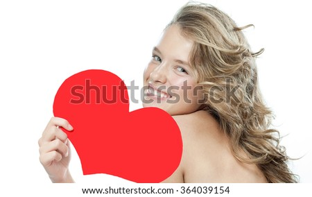 beauty face smiling young caucasian woman portrait isolated on white closeup skin studio shot red heart valentine's love - stock photo