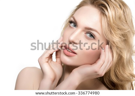 Beauty face woman. Girl healthy model in spa salon. Cream treatment products. Facial skin terapy - stock photo