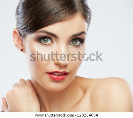 Beauty face woman portrait.  Young beautiful model. Close up female face