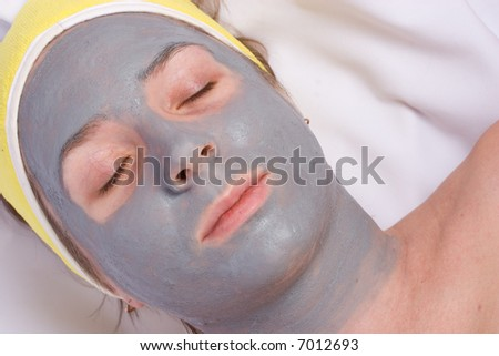 Beauty Facial mud mask with minerals - stock photo